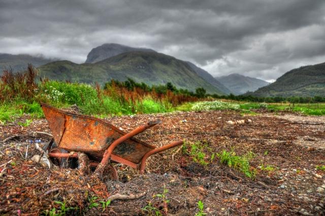Rusty wheelbarrow at low tide